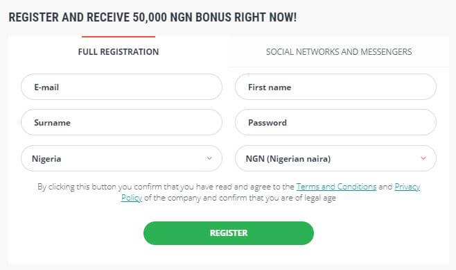 22Bet Registration Form