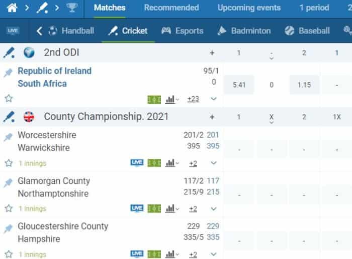 Cricket Matches 1xbet