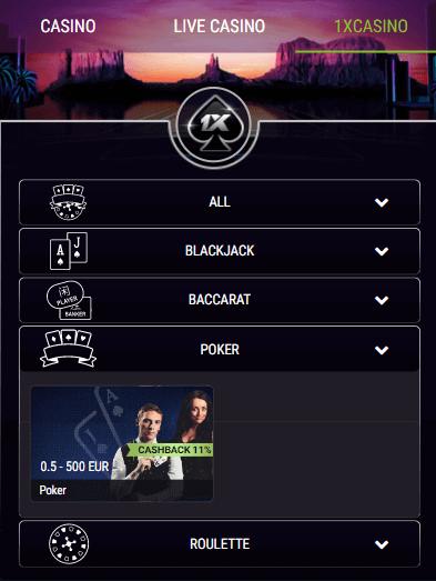 1xbet casino poker game