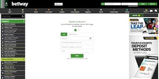 Sign up on Betway Desktop