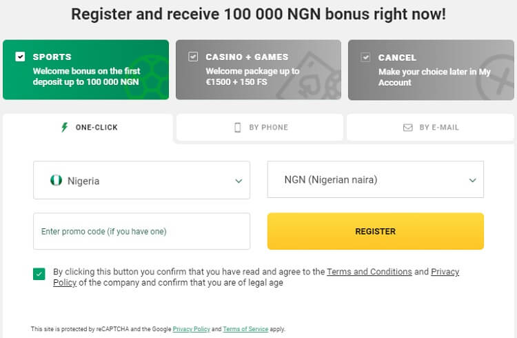 BetWinner Registration One-click
